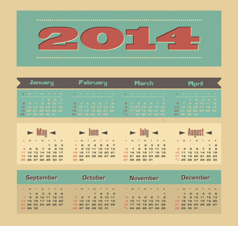 Calendario 2014 royalty illustrazione gratis