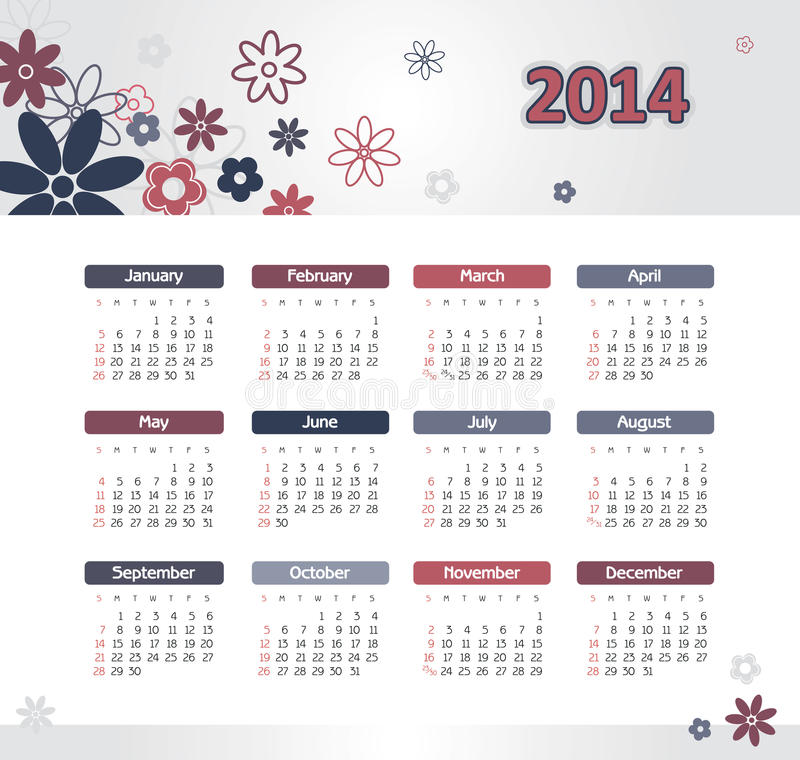Calendario 2014 illustrazione vettoriale