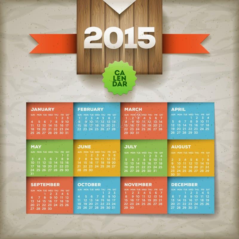 Calendario 2015 royalty illustrazione gratis