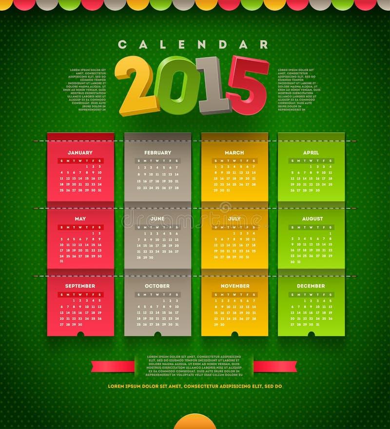 Calendario 2015 illustrazione vettoriale