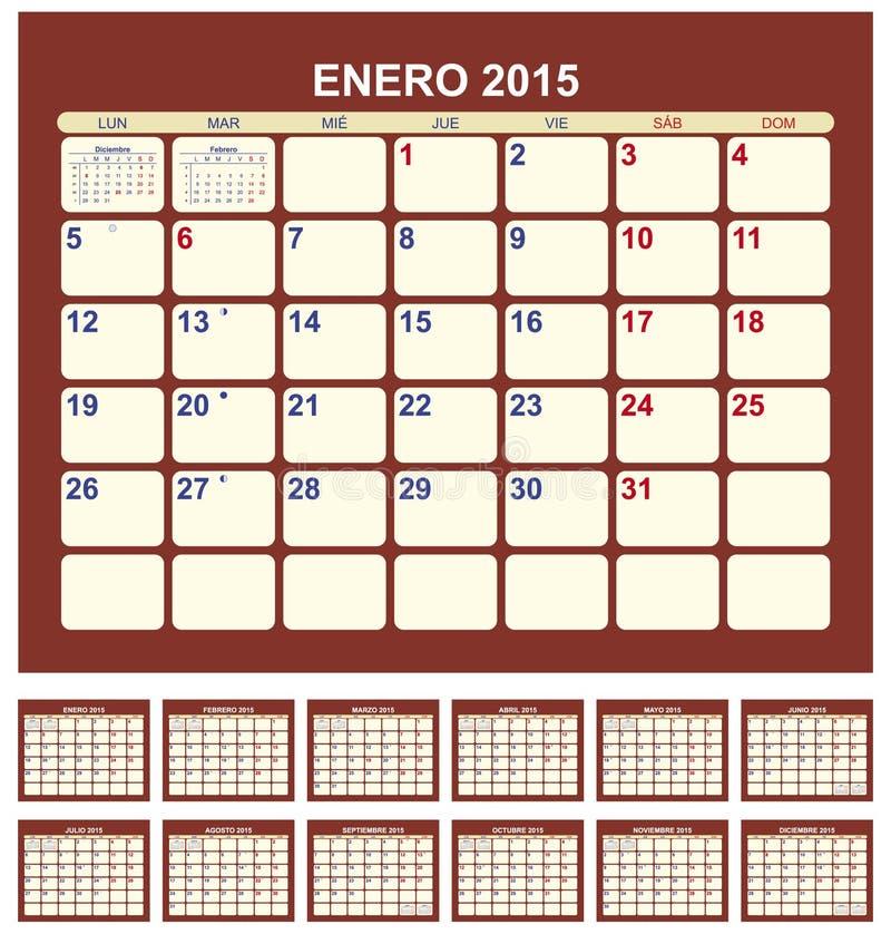 Calendario 2015 ilustración del vector