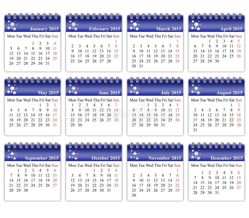 Calendario 2015 foto de archivo libre de regalías