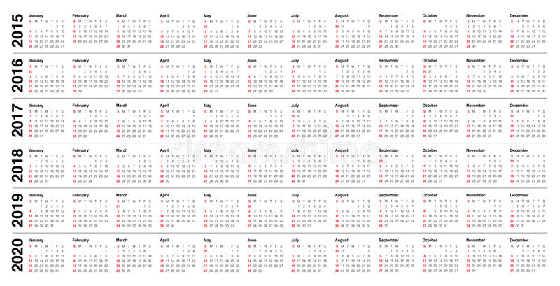Calendario 2015 2016 2017 2018 2019 2020 illustrazione vettoriale