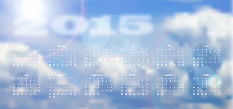 Calendario 2015 illustrazione di stock