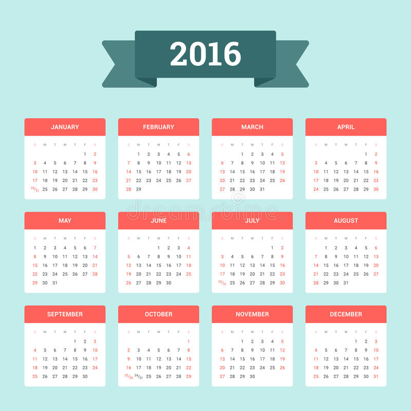 Calendario 2016 illustrazione di stock