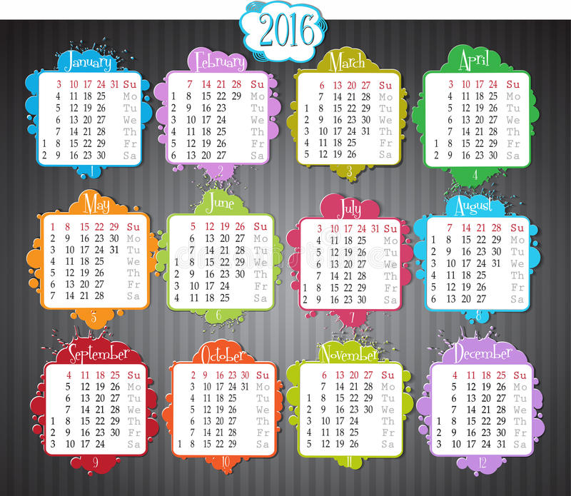 Calendario 2016 royalty illustrazione gratis