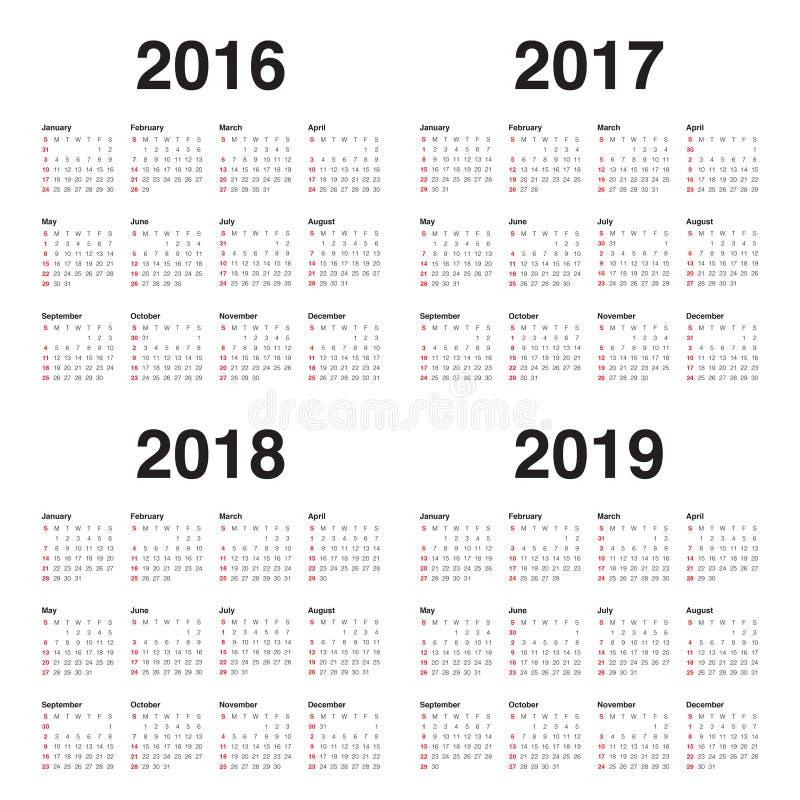 Calendario 2016 2017 2018 2019 stock de ilustración