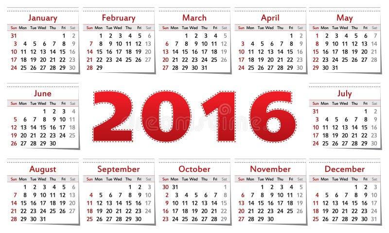 Calendario 2016 libre illustration