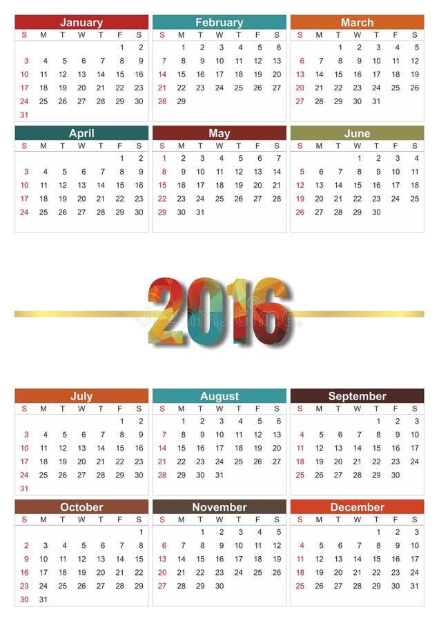 Calendario 2016 images libres de droits