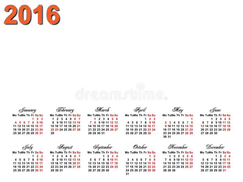 calendario 2016 foto de archivo libre de regalías