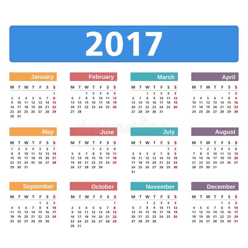 calendario 2017 fotografía de archivo