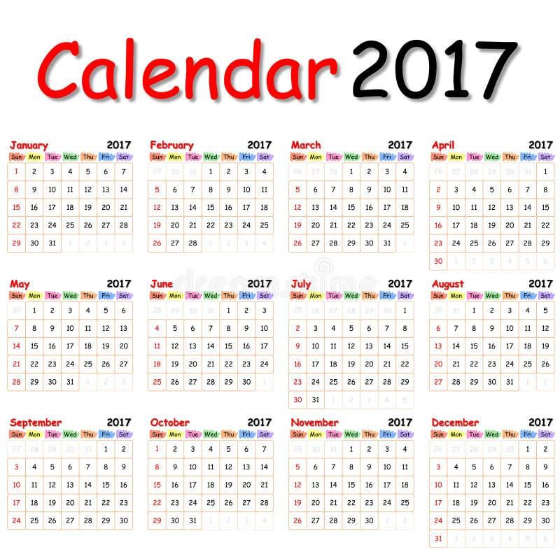 Calendario 2017 fotografía de archivo libre de regalías
