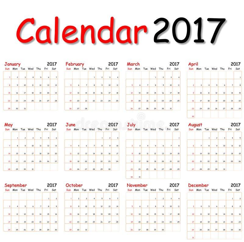 Calendario 2017 imagenes de archivo