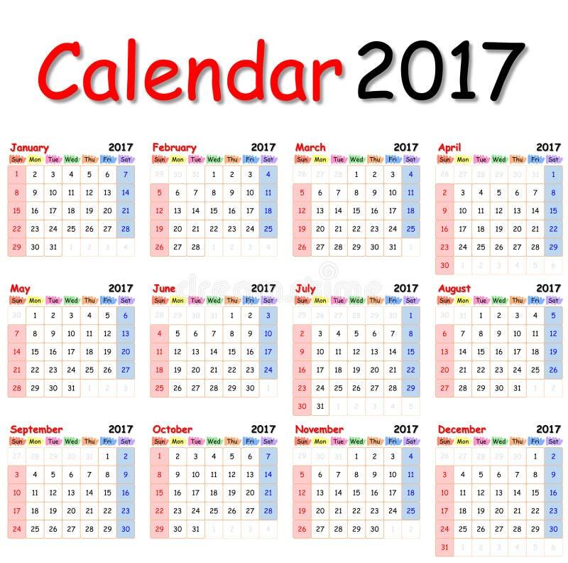 Calendario 2017 foto de archivo libre de regalías