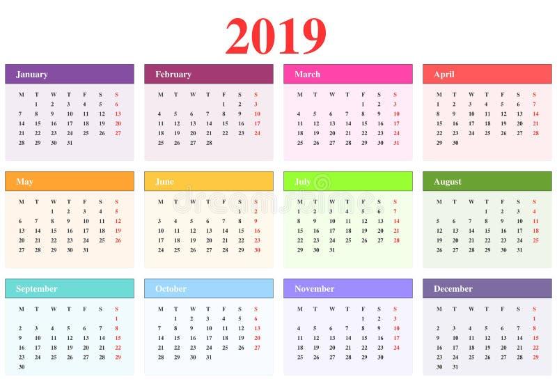 Calendario 2019 stock de ilustración