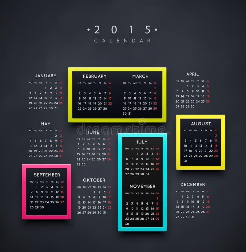 Calendario 2015 años ilustración del vector