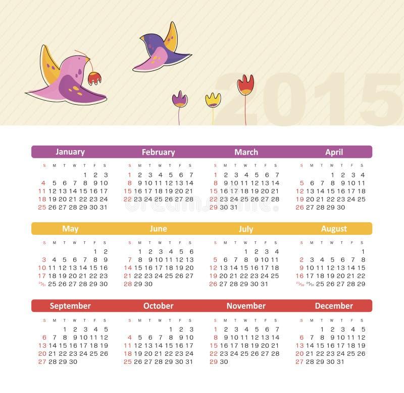 Calendario 2015 años con los pájaros ilustración del vector