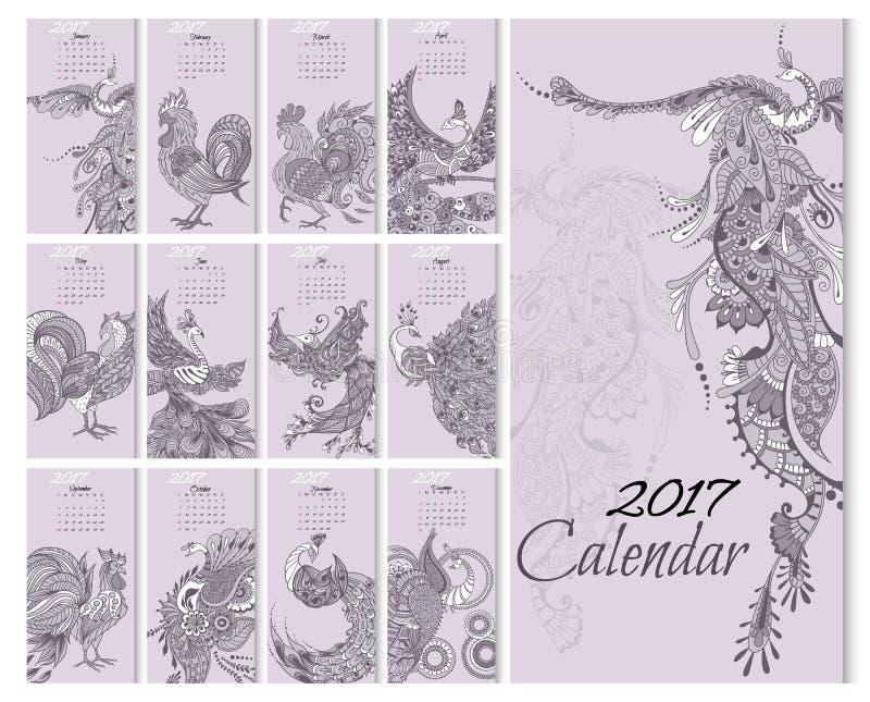 Calendario 2017 años con los pájaros míticos stock de ilustración