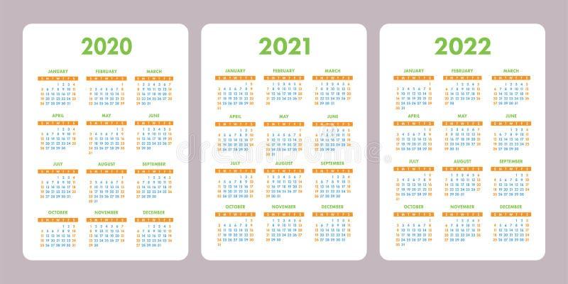 Calendario 2020, 2021, 2022 años del bolsillo Plantilla vertical del diseño del calendario del vector conjunto Comienzo de la sem stock de ilustración
