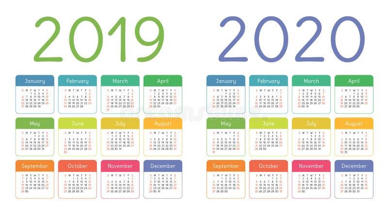 Calendario 2019, 2020 años Sistema colorido del calendario Comienzo de la semana imagen de archivo