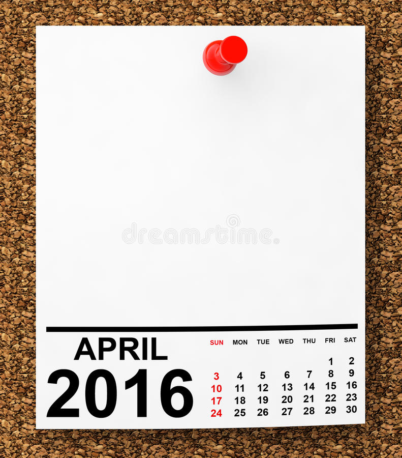 Calendario abril de 2016 libre illustration