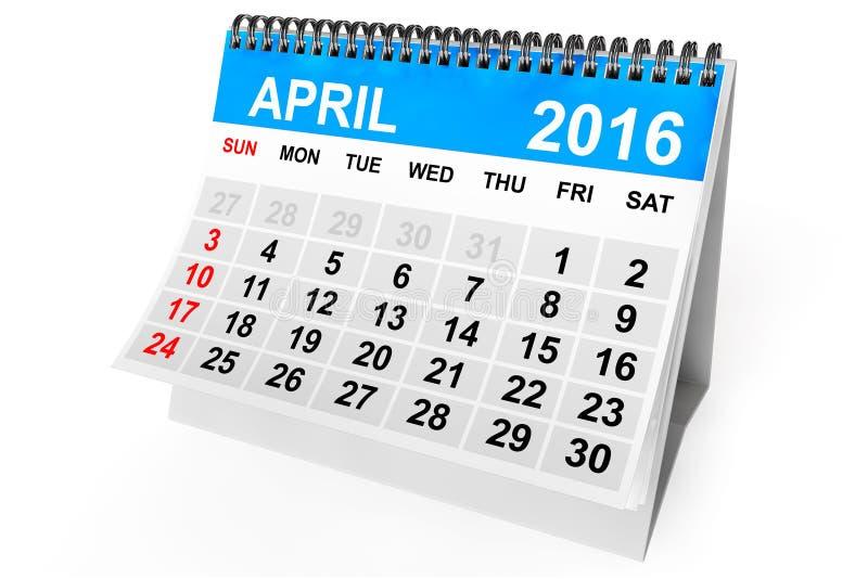 Calendario abril de 2016 stock de ilustración