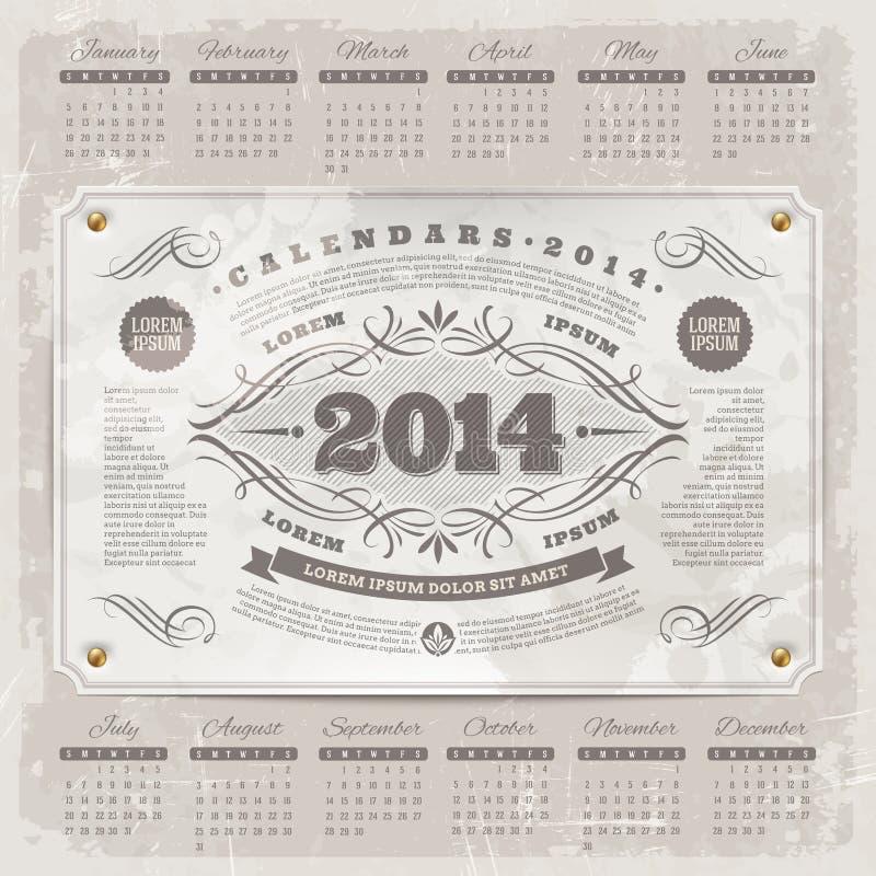 Calendario adornado del vintage de 2014 ilustración del vector
