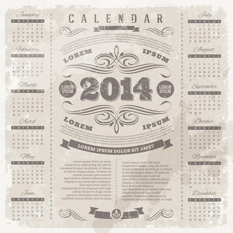 Calendario adornado del vintage de 2014 stock de ilustración