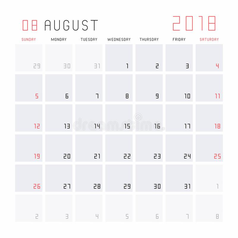 Calendario agosto 2018 illustrazione di stock