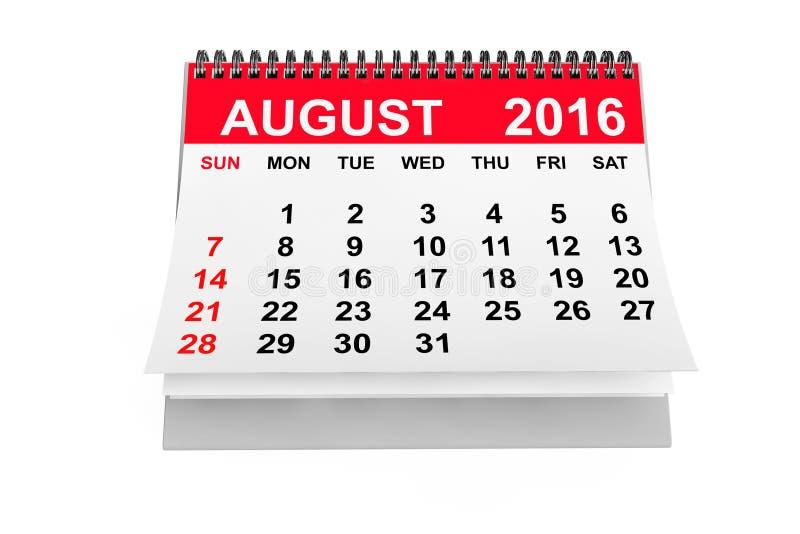 Calendario agosto de 2016 representación 3d ilustración del vector