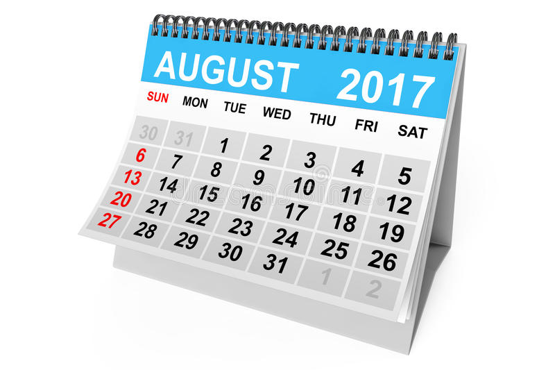 Calendario agosto 2017 rappresentazione 3d illustrazione vettoriale