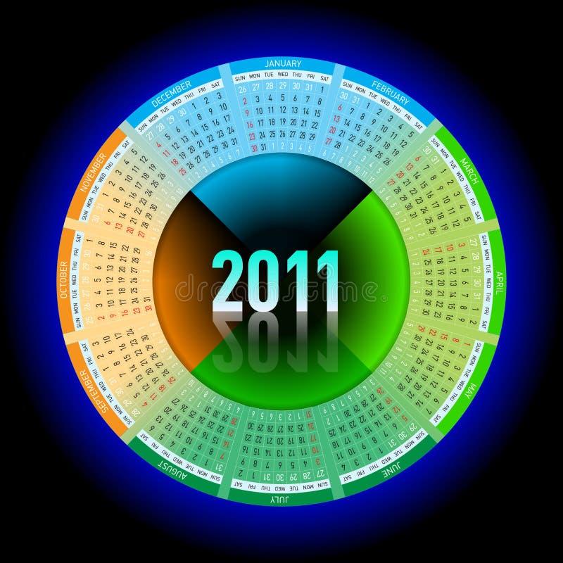 Calendario al neon 2011 royalty illustrazione gratis