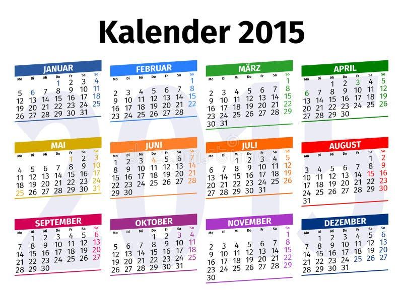 Calendario alemán 2015 fotografía de archivo