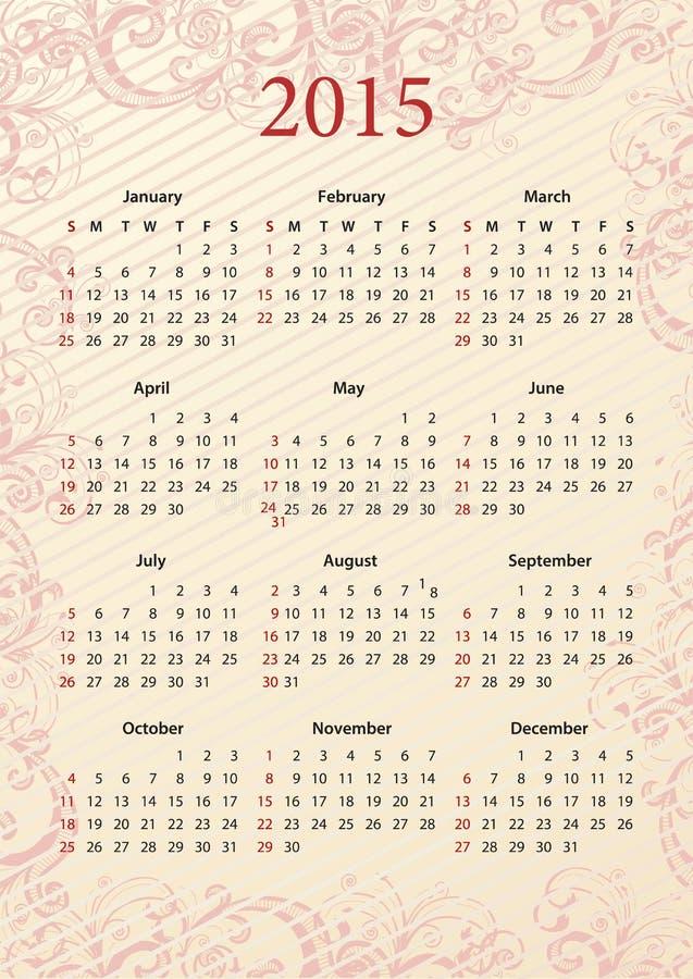 Calendario americano 2015 del rosa del vector stock de ilustración