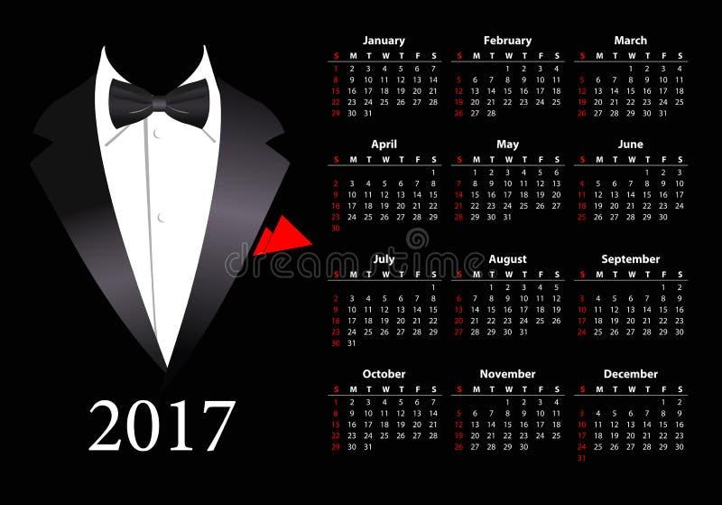Calendario americano 2017 del vector con el traje elegante ilustración del vector