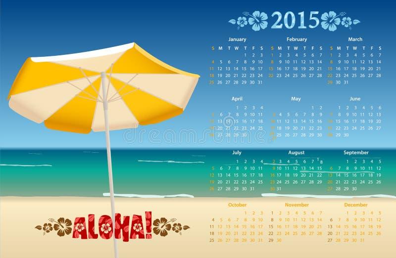 Calendario americano 2015 del vector con la playa tropical stock de ilustración