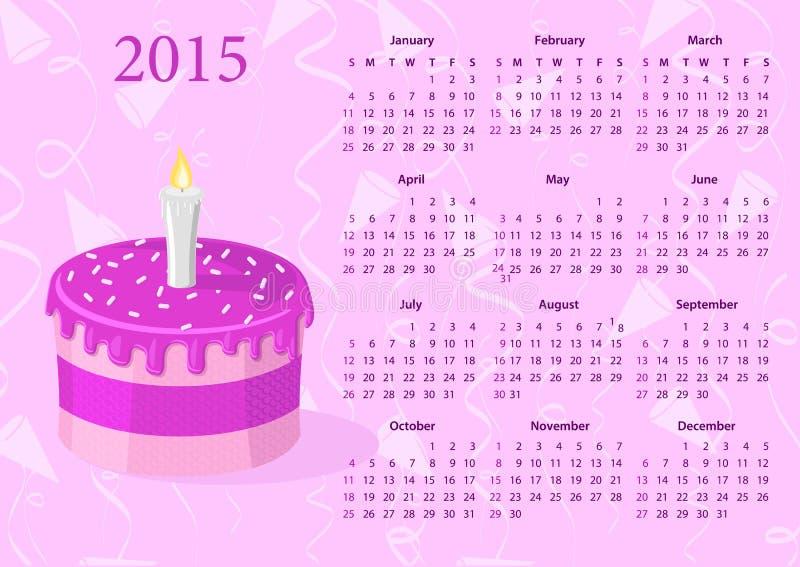 Calendario americano 2015 del vector con la torta ilustración del vector