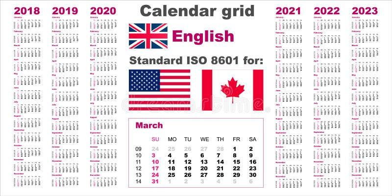 Calendario Americano 2021 Calendario Americano Stati Uniti Standard Modello Di Lingua