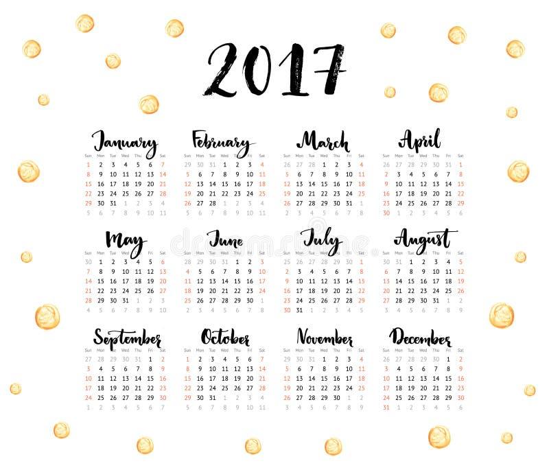 Calendario 2017 anni La settimana comincia domenica Uno strato con i mesi scritti a mano ed i punti dorati Disegno moderno di vet illustrazione di stock