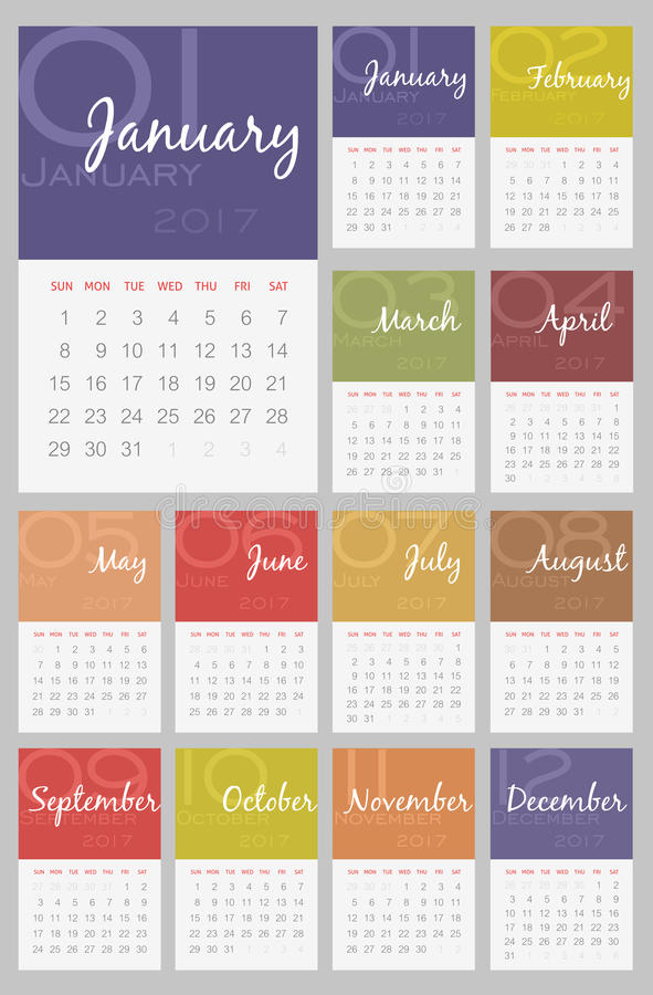 Calendario 2017 anni La settimana comincia a partire da domenica illustrazione vettoriale