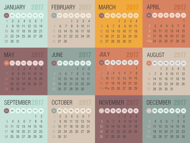 Calendario 2017 anni La settimana comincia a partire da domenica royalty illustrazione gratis
