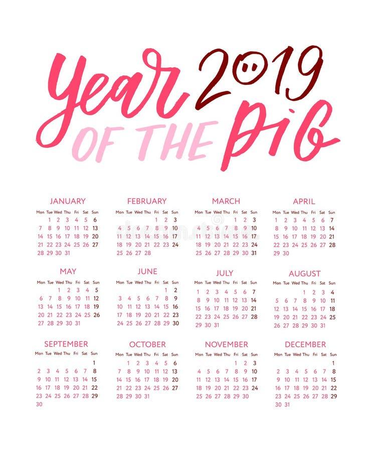 Calendario 2019 anni Modello in bianco e nero di vettore Inizio di settimana la domenica Griglia di base Calendario quadrato dell illustrazione di stock
