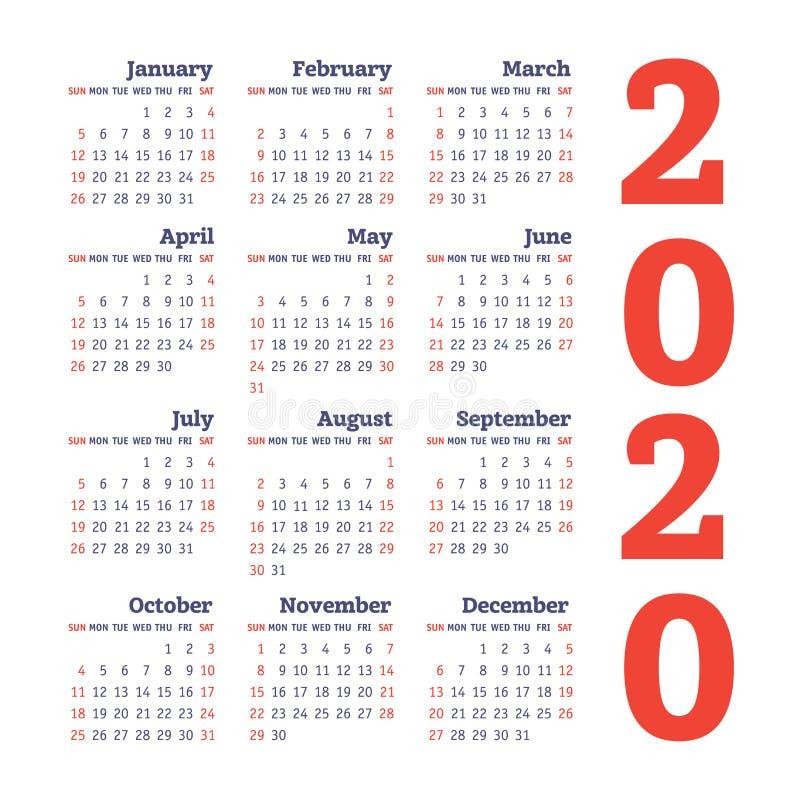 Calendario 2020 anni Modello di disegno di vettore Calendario quadrato inglese della tasca di colore Inizio di settimana la domen royalty illustrazione gratis