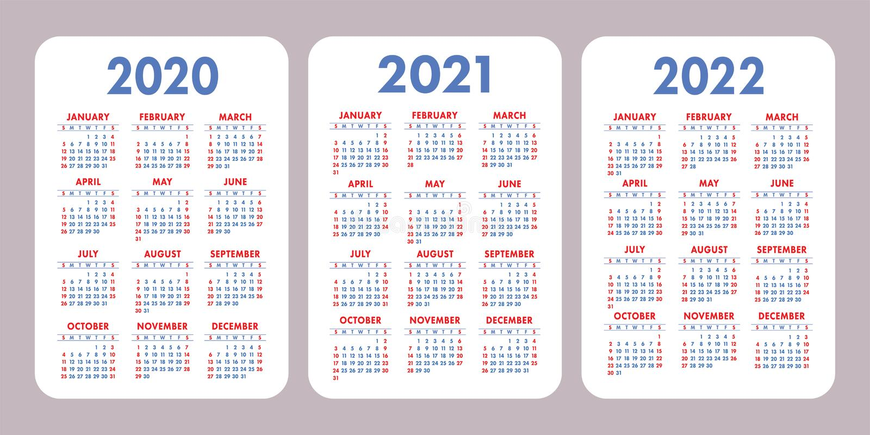 Calendario 2020, 2021, 2022 Anni Progettazione Verticale Del