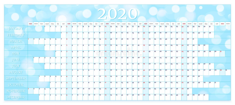 Calendario annuale 2020 Modello pianificazione annuale Illustrazione vettoriale illustrazione vettoriale
