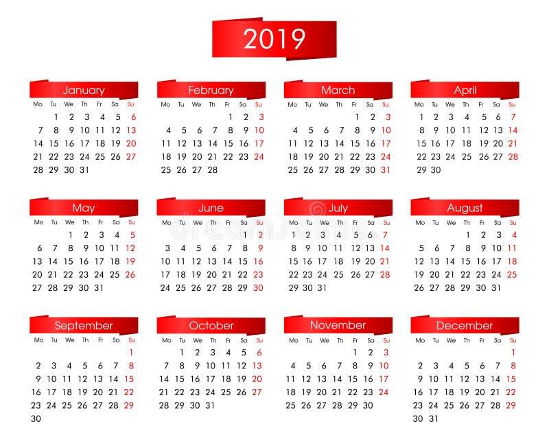 calendario annuale per 2019 con i grafici rossi luminosi su un fondo bianco immagine stock