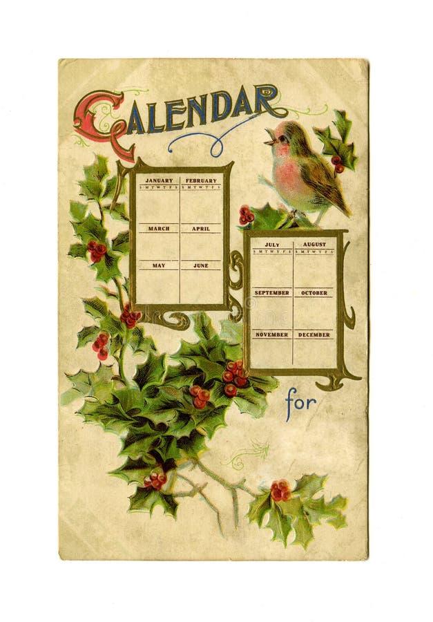Calendario antico della cartolina royalty illustrazione gratis