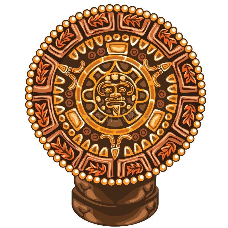 Calendario antico della maya su fondo bianco illustrazione di stock