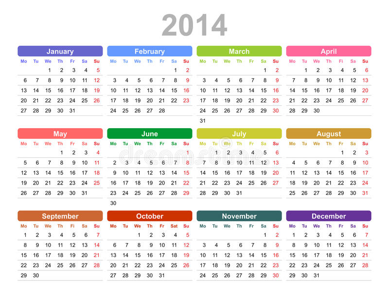 Calendario Anual De 2014 Años (lunes Primero, Ingleses) Ilustración ...