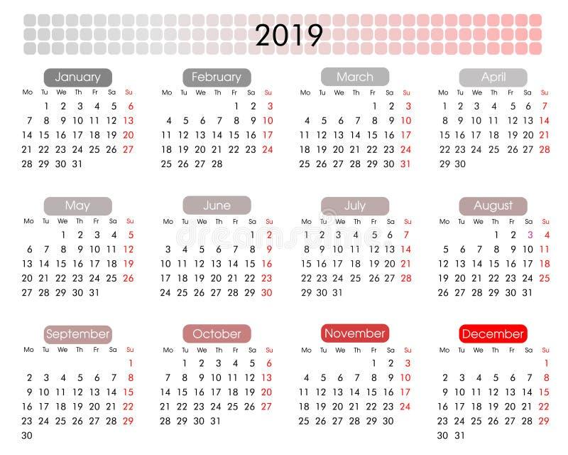 calendario anual 2019 en un estilo geométrico minimalista ilustración del vector